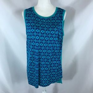 STYLUS BLUE/GREEN SLEEVELESS BLOUSE SIZE L